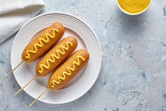 Mat för gatan för havrehunden stekte traditionell amerikansk djupt det varma köttkorvmellanmålet med gul senap Arkivfoto