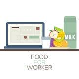 Mat för sunt matbegrepp för arbetare Royaltyfri Fotografi