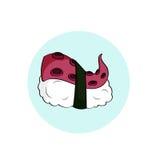 Mat för sushi för bläckfisk för tecknad filmstil som japansk isoleras på vit Fotografering för Bildbyråer