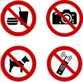 Mat för uppsättning för förbudteckensymbol, hund, telefon, kameravektor I vektor illustrationer