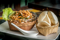 Mat för Vietnam ` s i bambuvävbunke Arkivfoto