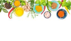 Mat för vit bakgrund för örtkryddor sund organisk Royaltyfria Foton