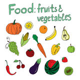 Mat: frukter och grönsaker Arkivbilder