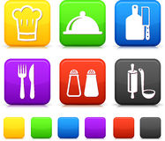 Mat Icond på fyrkantiga internetknappar Arkivfoton