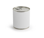 Mat kan med en blank etikett på white Fotografering för Bildbyråer