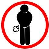 Mat kan orsaka för fisavarning för gas vägmärket den röda cirkeln som isoleras på vit stock illustrationer
