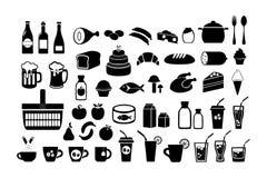 Mat livsmedelsbutik inställda symboler Vektormaterielillustration som isoleras på vit bakgrund stock illustrationer