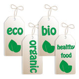 mat märker den organiska seten Arkivbilder