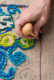 Mat making: hooking a rug Royalty Free Stock Photo
