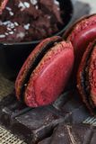 Raspberry macaroon chocolate ganache and chocolate squares Royalty Free Stock Images