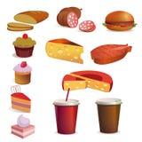 Mat och drink, vektorset Royaltyfri Bild