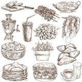 Mat och drinkar stock illustrationer