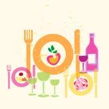 Mat- och drinkgastronomiillustration Royaltyfria Foton