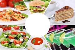 Mat- och drinkmenyn som äter samlingscollagedrycker, dricker M arkivfoton