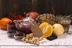 Mat- och drinkrich av naturliga antioxidants Arkivbilder