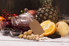 Mat- och drinkrich av naturliga antioxidants Arkivfoto