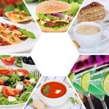 Mat- och drinksamlingscollage som äter resta för drinkmålmål fotografering för bildbyråer