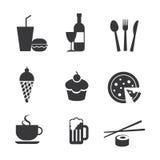 Mat- och drinksymboler royaltyfri illustrationer