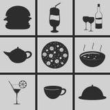 Mat- och drinksymboler stock illustrationer