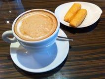 Mat och dryck, kaffe, kex Arkivbild
