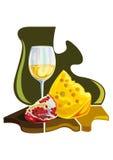 Mat och frukt - vektor för färgillustration Arkivbild