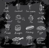 Mat och inskrifter Arkivbild