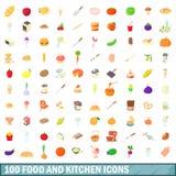 100 mat- och köksymboler ställde in, tecknad filmstil Royaltyfri Bild