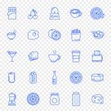 Mat och köksymbolsuppsättning 25 symboler royaltyfri illustrationer