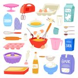 Mat och kitchenware för bageriingrediensvektor för att baka kakauppsättningen av ägg pudrar och mjölkar för degillustrationen av royaltyfri illustrationer