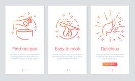Mat- och receptbegrepp som onboarding app-skärmar Den moderna och förenklade vektorillustrationwalkthroughen avskärmar mallen för Arkivbilder