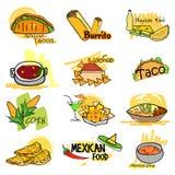 Mat och startknapp för mexicansk kokkonst läcker stock illustrationer