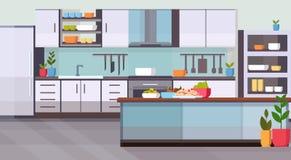 Mat på för kökinre för tabell modern design tömmer inga personer hyr rum modernt laga mat för anordningar och kulinariskt begrepp royaltyfri illustrationer