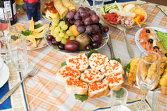 Mat på ferietabellen Royaltyfri Fotografi
