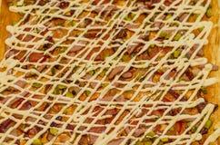 Mat pizza, mellanmål, matställe, ost, lunch, såser Fotografering för Bildbyråer
