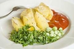 Mat potatis, horisontal som äter, grönsaker, grönsak, garnering Royaltyfri Fotografi