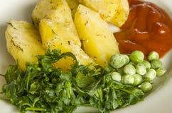 Mat potatis, horisontal som äter, grönsaker, grönsak, garnering Royaltyfri Foto