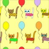 Mat?rias t?xteis criativas bonitas Imagem dos gatinhos originais em bal?es Papel de parede para a sala de crian?as, consideravelm ilustração royalty free