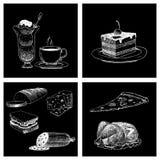 Mat skissar för menyrestaurang för vektor den naturliga kokkonst för matlagning för mål för klottret för produkten och för kök ny vektor illustrationer