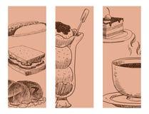 Mat skissar kokkonst för matlagning för mål för klottret för produkten och för kök för restaurang för meny för vektorbaner den na vektor illustrationer