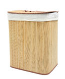 Mat wooden container covered by white textile and lid Royalty Free Stock Image