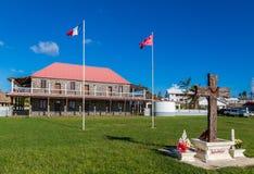 Mata-Utu, Wallis en Futuna Het Paleis van de gebruikelijke Koning in het kapitaal van grondgebied van wallis-et-Futuna, Polynesia stock afbeeldingen