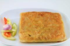 Mataba. Indian pancake stuffed with savouries stock image