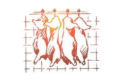 Matadero, corte de la carne, cerdo tajado, reses muertas del ganado que cuelgan en el congelador, refrigerador, producto crudo, c ilustración del vector