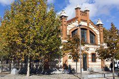 Matadero Madrid pavilion - Cultural center, industrial architecture of former slaughterhouse, Arganzuela district. Matadero Madrid is a cultural and art center royalty free stock photo