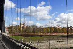 Matadero Madrid, industrial architecture - View from Puente de Matadero, on Manzanares river. Matadero Madrid is a cultural and art center created by the city in royalty free stock images