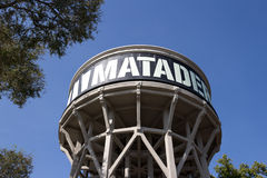 Matadero Madrid, the old water tower sign - Arganzuela district Royalty Free Stock Photo