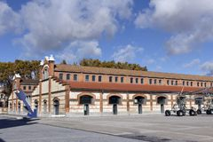 Matadero Madrid Pavilions - Cultural center, industrial architecture in Arganzuela district. Matadero Madrid is a cultural and art center created by the city in royalty free stock photo