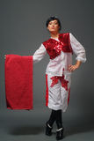Matador. The woman of the Spanish appearance in a suit of a matador Stock Photo