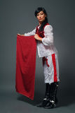 Matador. The woman of the Spanish appearance in a suit of a matador Royalty Free Stock Photo