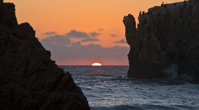 Matador Beach Sunset. Sunset of the Pacific Ocean at El Matador State Park Beach in Malibu, CA Stock Images